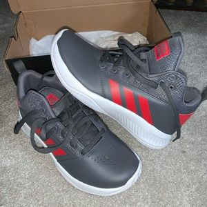 NEW ADIDAS red and grey shoes size 5